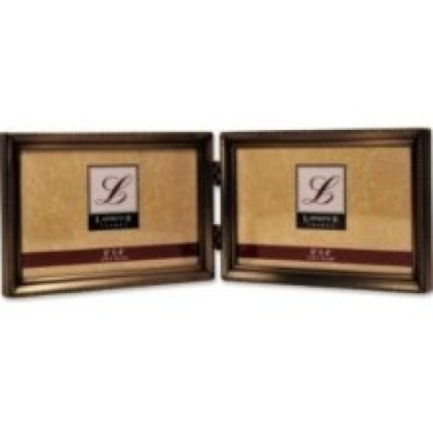 Bead Lawrence Frames Antique Brass 4x6 Hinged Double Horizontal Picture Frame