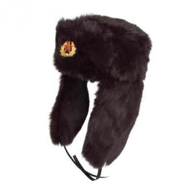 21Fashion Faux Fur Russian Ushanka Hat 59cm Trapper Hat Removable Soviet Badge.