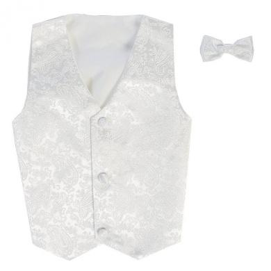 Lito Little Boys White Poly Silk Vest Bowtie Special Occasion Set 2T-7