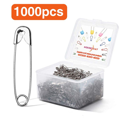 Artibetter 350Pcs Safety Pins Small and Large 6 Sizes Metal Sewing Pins Assorted for Home Office Use Art Craft Sewing Jewelry Making Black