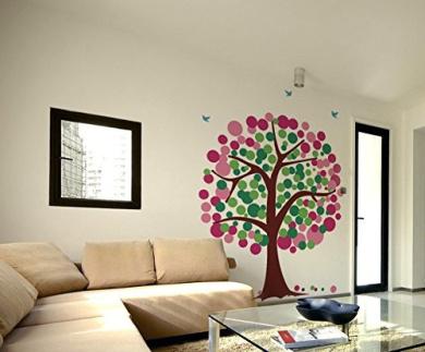 Pop Decors PT-0035-Vb Beautiful Wall Decal Giraffes and Polka Dot Trees