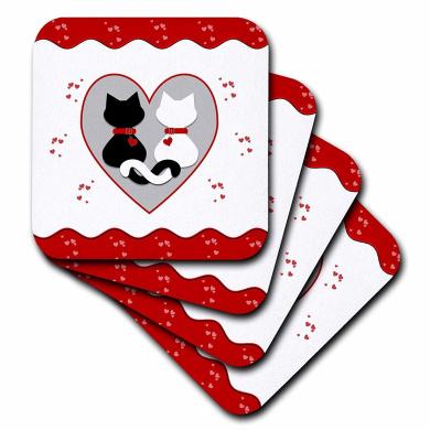 Black//White Set of 4 3dRose cst/_38772/_3 Letter W Damask Ceramic Tile Coasters