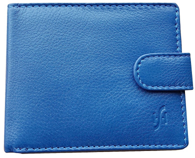 PU Blue Mens Leather Magic Credit Card ID Holder Money Clip Wallet By Anglewolf
