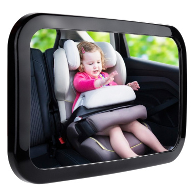 Fits Any Adjustable Headrest Tilt and Turn Function Emwel Baby Car Mirror with Sign /& Car Window Roller Shades Baby Shatterproof Rear View Mirror for Rearward Facing Child Seat
