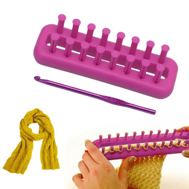 Four-Piece Set Circular Knitting Loom dezirZJjx 4-Sizes DIY Rectangle Knitting Loom Scarf Sweater Shawl Stitch Knit Weaving Tool
