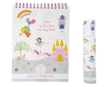 Notebooks /& Colouring Pencils Floss /& Rock Fairy Unicorn School Stationary Gifts Set