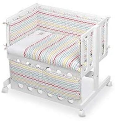 pirulos 28900510/ /vestidura minicuna Stars Design White and Linen Cotton