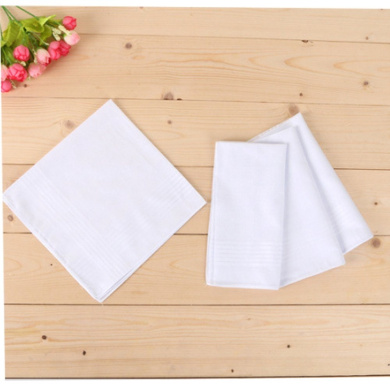 by the dozen Painted Stitches Mens handkerchiefs White with a straight edge soft cotton by