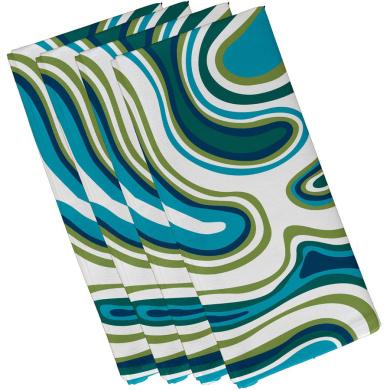 E by design N4HGN318BL20GY1 Holy Stars Holiday Geometric Print Napkin Blue