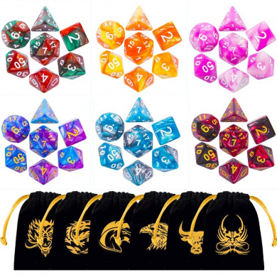 QMAY 20 Color DND Dice Set Double-Colors DND Dice Role Playing Dice for Dungeon and Dragons DND RPG MTG Table Games Dice D4 D8 D10 D12 D20 105PCS Polyhedral Game Dice