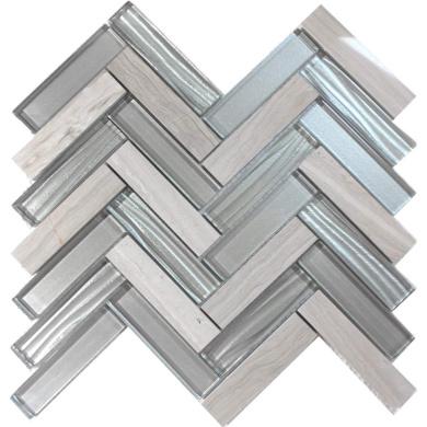 Modket TDH38MO-S Sample Super White Wave Metallic Cold Spray Mosaic Tile Stacked Pattern Backsplash