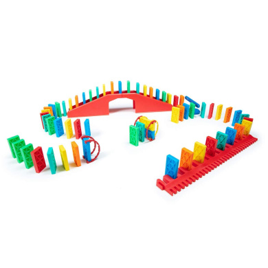 100pcs Bulk Dominoes Kinetic Domino Planks Stacking Building Toppling Chain Reaction Dominoes Set for Kids and Creators