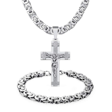 LOPEZ KENT His /& Hers Necklace Set Couples Stainless Steel Crucifix Cross Pendant Necklace Black Silver