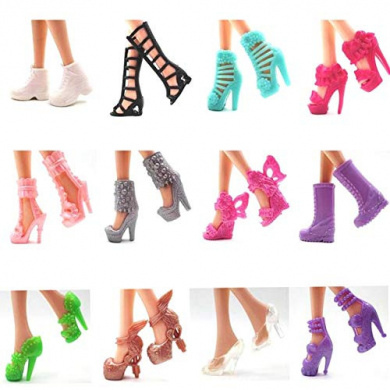 12 Pairs//Set Dolls Fashion Shoes High Heel Shoes Boots for  Doll Gift fj