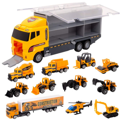11 Play Vehicles In Carrier Truck Includes Trucks Excavator Cement Truck Dumper Bulldozer Forklift Road Roller Ideal Gift For Boys And Girls JoyABit 11-In-1 Die-Cast Construction Truck Vehicle Car Toy Set