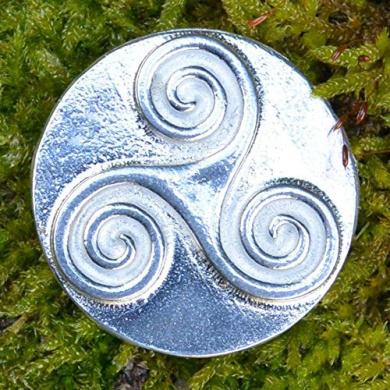 Triscele Brooch Handcast by William Sturt Triskele Brooch Round Triskel Celtic Brooch Triskelion Brooch Fine Pewter