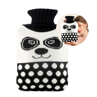 Santa Deer /& Panda 2L Cute Knit Cover HOT Water Bottles with Soft Knitted Removable Cover,Thicker Higher Quality Rubber Bottle