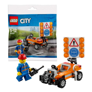 LEGO Bad Racer Man Figure Building Kit Block Toy Set Red Race Car Creator Bundled with City Road Worker Construction CCBloks Bad Cop Movie Keychain Hanger Character