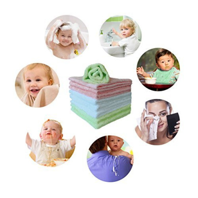 Reusable and Extra Soft Newborn Baby Bath Washcloths Baby Washcloths Natural Organic Bamboo Baby Face Towels Suitable for Sensitive Skin Baby Registry as Shower Gift Set Colorful towels-9pack