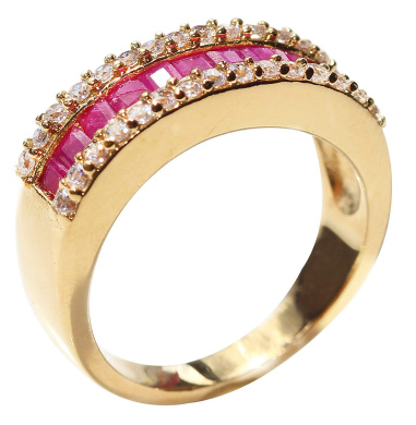 Outstanding Quality Stamped GL. Jewellery/® Beautiful 24k Gold Filled Lab Simulated Diamond Half-Eternity Band Ah