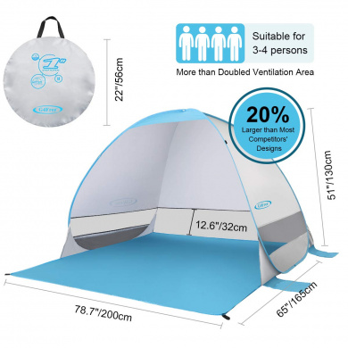 3 windows UV 80 Outdoorer childrens beach shelter /& travel cot Zack Premium Baby self-erecting
