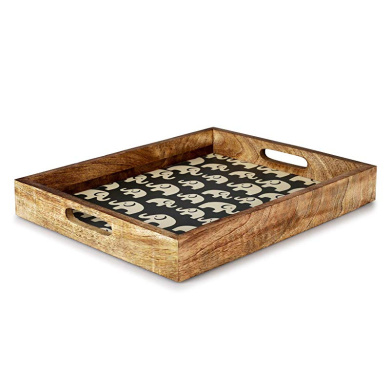 Breakfast in Bed or for Ottomans or Desk 20x15 Rectangular Tea Serve Coffee Cocktails Appetizers Virginia Boys Kitchens Walnut Wood Serving Tray with Handles