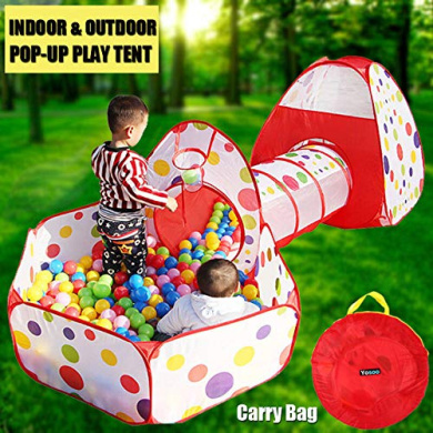 GOTOTOP 3 in 1 Set Kids Children Baby Play House Tent Tunnel Ball Pool Pop Up Design Playhouse Game House Toy Gift