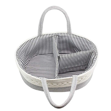 Toy Baby Shower Newborn Registry Must Have Esee Home Portable Baby Diaper Caddy Organizer Basket Pure Cotton Rope Storage Basket with Handle and Divider for Diaper
