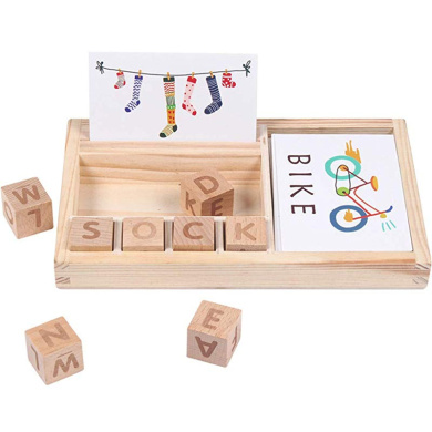 See And Spell Puzzle Learning Toy Preschool Spelling Game Toys Wooden Letter Game For Children Toddler Vocabulary And Spelling Skills For 3 4 5 6 Year Olds EPCHOO Wooden Matching Game
