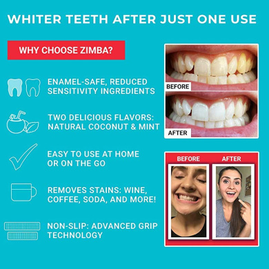 Zimba Teeth Whitening Strips Mint Zimba Whitening Strips