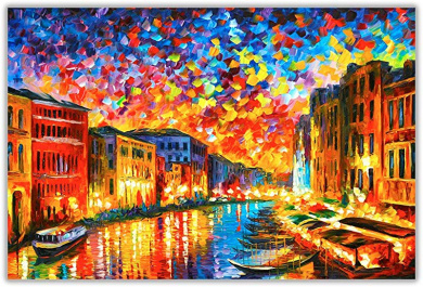 AT54378D Town From The Dream By Leonid Afremov Canvas Wall Prints Deco Pictures