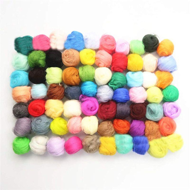 Wool Queen 15gx4 70S Queensland Wool Tops Wool Roving Cool Colors with Basic Shape Formation and Color Mixing Guidance