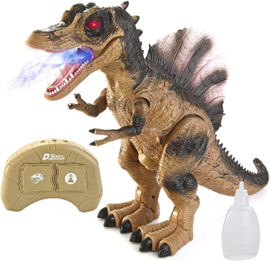 Realistic Modeling YIYUE Remote Controlled Double-Wing T-REX Toy Brown Move Flexibly with Light and Sound